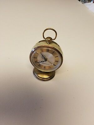 vintage westclox brass mini alarm clock wind up with roman numerals working