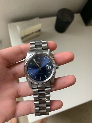 Vintage Bulova Super Seville Automatic Date Watch Blue/Purple Dial