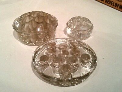 Lot Of 3 Vintage Clear Glass Flower Frogs Home Garden Supplies