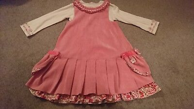 Little Darlings Outfit - stunning Pink Needlecord dress & top Age 4 VGC