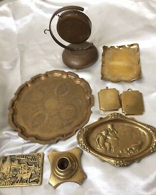 Job Lot Vintage Old Brass,solid Brass,8 Vintage Items,trays,gong,plaques,etc