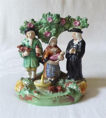 Antique Early 19Th Century Staffordshire Figure Group 'The Tithe Pig'