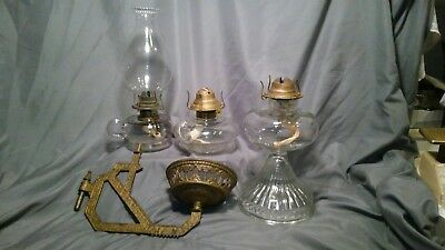 Antique Large Glass kerosene  Oil Lamp LOT 3 Lamps With Holder