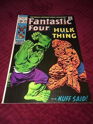 Fantastic Four #112 1971 Marvel Comics Thing v. Hulk Stan Lee Bronze Age
