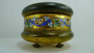 Rare Antique French Brass Jewelry Box hinged lid Colorful Emile decoration