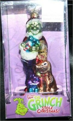 """* Grinch With Max * Dr Seuss Blown Glass New Ornament 5"""""""