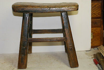 American antique wood jointed small stool, some original paint, 18-19 century