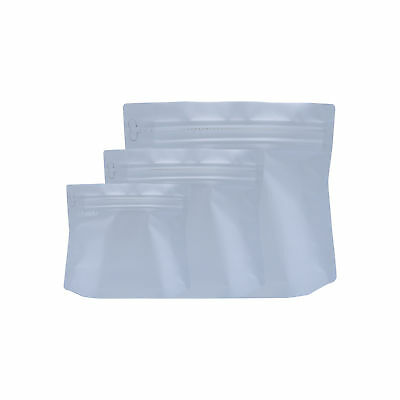 Pack of 25 Heavy Duty Mylar White Coffee Storage Bag with Pull Tab (Varies Size)