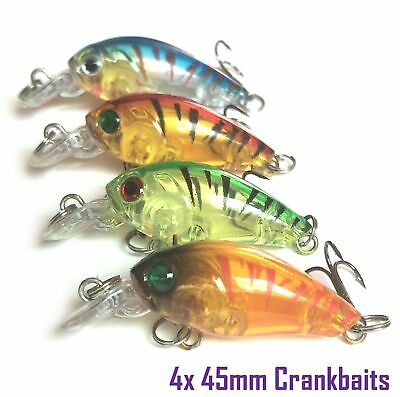 4 Fishing Lures Bream Flathead Whiting Trout Cod Bass Crankbaits Tackle 45mm