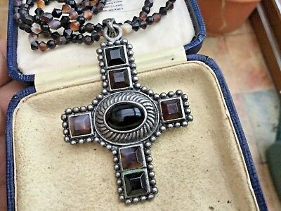 Unique Costume Jewellery Medieval Celtic Stone Effect Cross And Beaded Chain