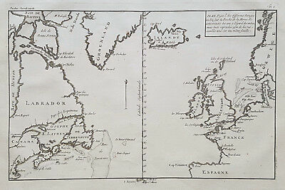 Original uncommon antique map of the North Atlantic from 1772 Denmark Iceland