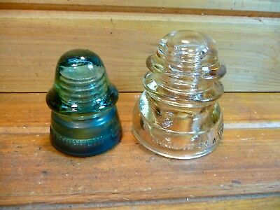 Vintage Peach WHITALL TATUM CO. No 1 INSULATOR & McLaughlin No. 14 Glass