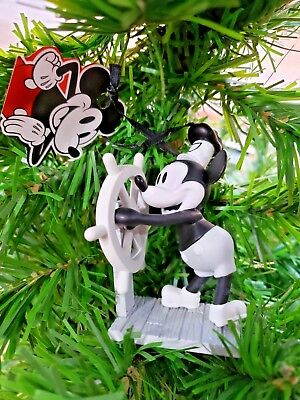 Disney Mickey Mouse Steamboat Willie Christmas Ornament 90th Anniversary B/W NEW