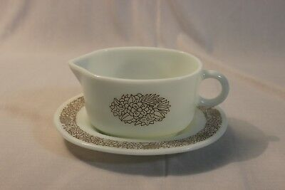 Vintage Pyrex Woodland Brown Gravy Boat 77-B and Under Plate Tray 77-U