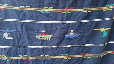 Vtg Central America Tapestry Woven Textile Cotton Native Images 51 x 54 Inches