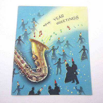 Vintage UNUSED Mid Century New Year's Card Music Party Silhouette People Hats
