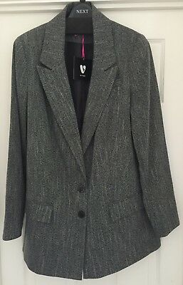 Ladies V By Very Mono Textured Jacket. Single Breasted. Size 16. Reduced