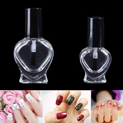 5/10ml Empty Heart Nail Polish Clear Glass Bottle Storage Container with Cap JO