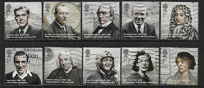 1) GB Stamps 2009  Eminent Britons Full Set. Good used.