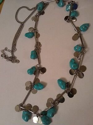 """silver/ turquoise/southwestern necklace/ stamped JULIO 38"""""""