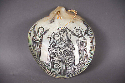 Beautiful Antique Religious Etched Mother of Pearl Shell Christianity