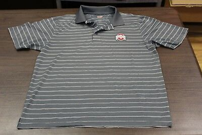 Ohio State Buckeyes Men's Gray Striped Polo Shirt - The Oval - Large