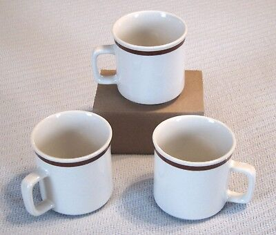 Genuine Stoneware Coffee Cups Lot of 3 Speckled Off White Brown Stripe Japan