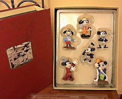 Mickey Mouse Through The Years Storybook Christmas Ornament Set Disney 6 Piece