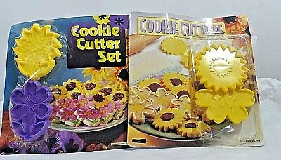 VTG 2 Sets Plastic Flower Spring Summer Cookie Cutters New In Original Package