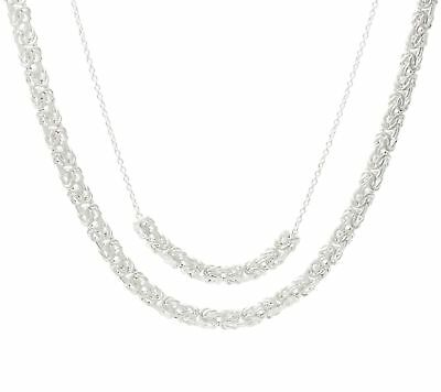 """14K White Gold Over Sterling Silver Layered Byzantine 18""""/20"""" Necklace 14.8g"""
