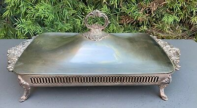 Vintage Baroque Wallace Silverplate 226 Covered Footed Casserole Serving Dish