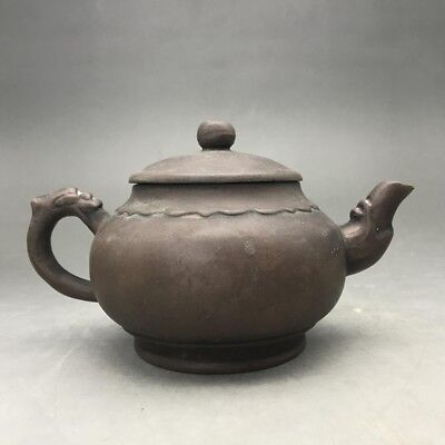 Rare and exquisite Chinese hand-carved purple clay pot. b1037