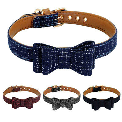 Luxury Bow Tie Dog Collars Soft Leather Padded Pet Puppy Cat for Chihuahua Pug