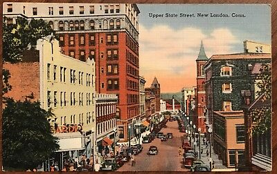 Rare Vintage Postcard Aerial View State Street New London Connecticut Ct