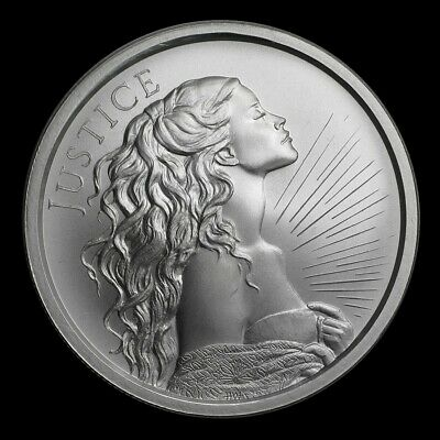 1 oz silver Justice .999 Pure BU limited 2018 Lady Women Girl silver shield!