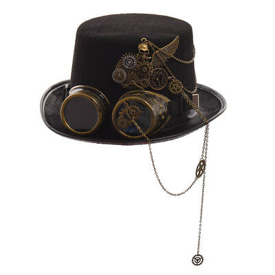 1pc Vintage Women Steampunk Gear Skull Spike Goggle Top Hat Victorian Punk Hat