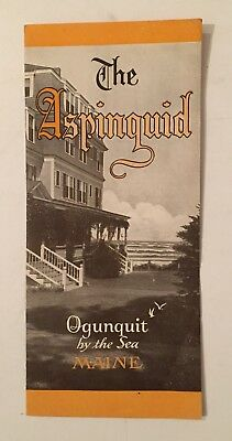 """1930s ASPINQUID HOTEL OGUNQUIT BY THE SEA ME BROCHURE """"CHRISTIAN CLIENTELE ONLY"""""""