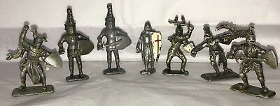 Vintage Medieval knights in armor lead figures lot of 7