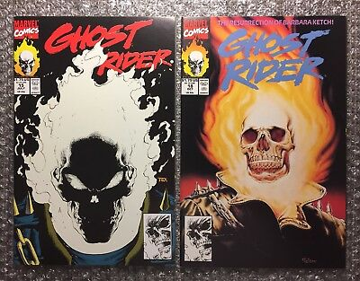 Ghost Rider #15 (GLOW-IN-THE-DARK) & #18 - 1991 Marvel Copper Age Comics LOT!