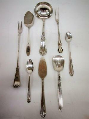 Vtg Lot of 8 Serving Pieces ~ S P Co Ladle, Wallace Cocktail Fork, Rogers Relish