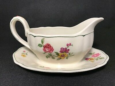 "Grindley Marlborough Royal Petal in ""Melrose Rose Floral"" Gravy Boat"