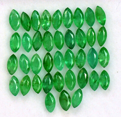 Natural Emerald Marquise Cut 4x2 mm Lot 45 Pcs 3.54 Cts Untreated Loose Gemstone