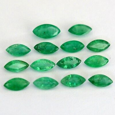 Natural Emerald Marquise Cut 6x3 mm Lot 15 Pcs 3.52 Cts Untreated Loose Gemstone