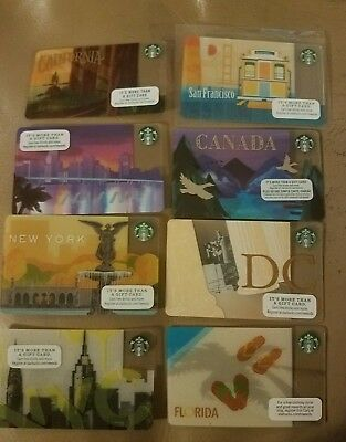 Lot of 8  City's Collectible Starbucks Gift Cards