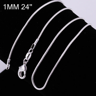 925 Sterling Silver 1MM Classic Snake Necklace Chain Wholesale Unisex 24""