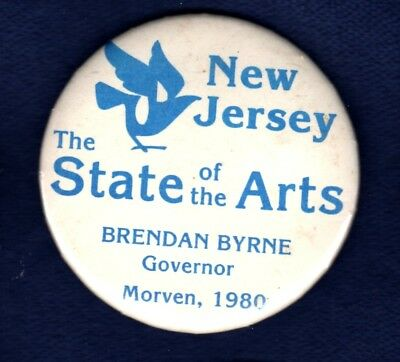 Brendan Byrne New Jersey State Arts Council Morven 1980 Political Pinback Button
