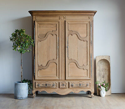 French Antique Late 18C Light Oak Knockdown Armoire / Wardrobe / Linen Press