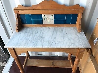 Antique pine wash stand with Marble top and teal tiles