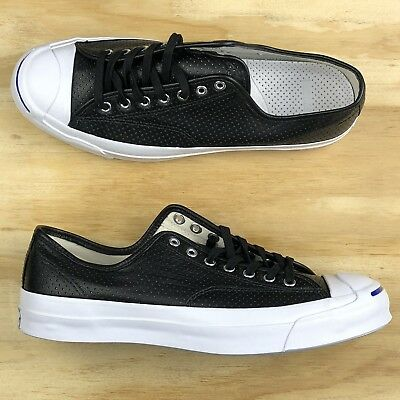 c9c62ee4b24e Converse Jack Purcell Signature Ox Black Leather White Low Top  151475C   Size 11