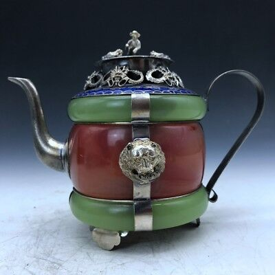 Collection of ancient Chinese carved jade inlaid bag silver jug / teapot b350